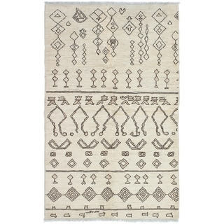 ECARPETGALLERY  Hand-knotted Tangier Cream Wool Rug - 5'0 x 8'0