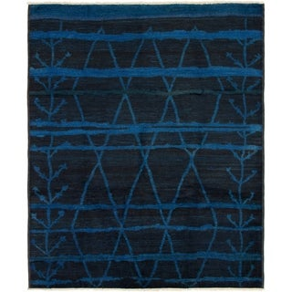 ECARPETGALLERY  Hand-knotted Vibrance Black, Blue Wool Rug - 8'0 x 9'8
