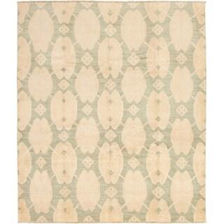 ECARPETGALLERY  Hand-knotted Finest Ziegler Chobi Beige, Teal Wool Rug - 8'3 x 9'8
