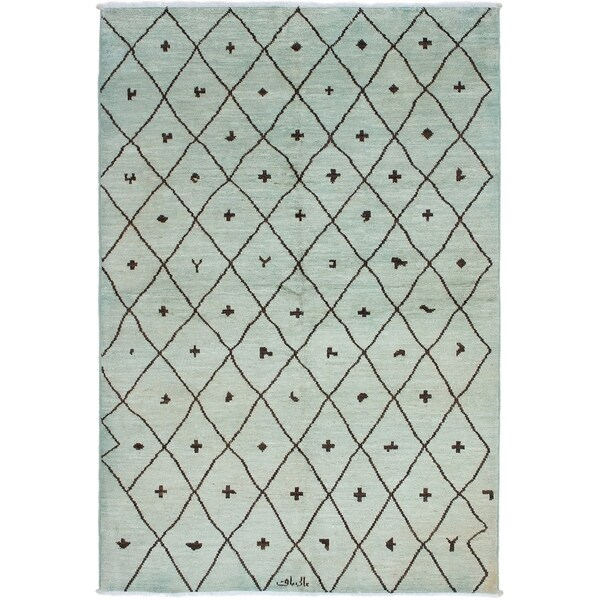 ECARPETGALLERY Hand-knotted Tangier Khaki Wool Rug - 5'11 x 8'10