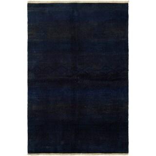 ECARPETGALLERY  Hand-knotted Vibrance Dark Navy Wool Rug - 5'10 x 8'11