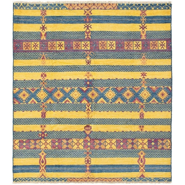 ECARPETGALLERY Hand-knotted Shalimar Blue, Gold Wool Rug - 8'6 x 9'8