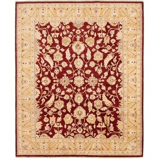 ECARPETGALLERY  Hand-knotted Chobi Finest Dark Red Wool Rug - 8'0 x 9'10