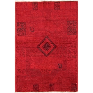 ECARPETGALLERY  Hand-knotted Vibrance Red Wool Rug - 4'4 x 6'4