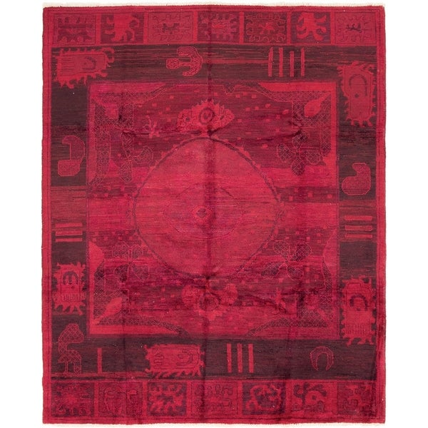 ECARPETGALLERY Hand-knotted Vibrance Dark Red Wool Rug - 8'0 x 9'10