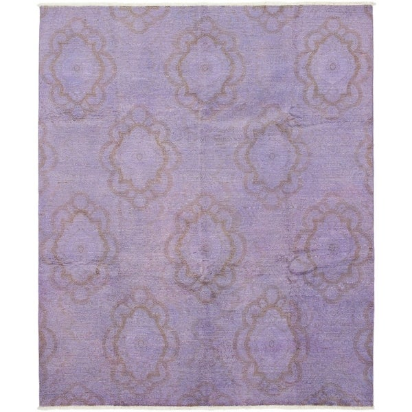ECARPETGALLERY Hand-knotted Color transition Violet Wool Rug - 7'9 x 9'3