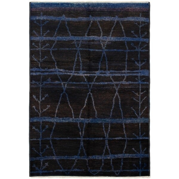 ECARPETGALLERY Hand-knotted Vibrance Dark Blue, Dark Brown Wool Rug - 6'1 x 8'10