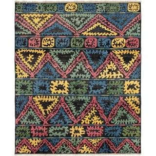 ECARPETGALLERY  Hand-knotted Shalimar Black, Blue Wool Rug - 8'4 x 10'0