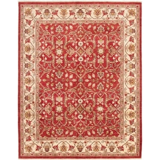 ECARPETGALLERY  Hand-knotted Chobi Finest Red Wool Rug - 7'10 x 10'0
