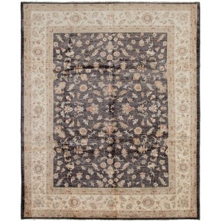 ECARPETGALLERY  Hand-knotted Chobi Finest Black Wool Rug - 8'1 x 9'10