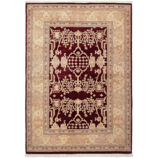 ECARPETGALLERY Hand-knotted Chobi Twisted Dark Red Wool Rug - 5'2 x 7'8