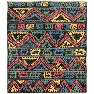 ECARPETGALLERY  Hand-knotted Shalimar Black Wool Rug - 8'2 x 9'5