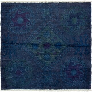 ECARPETGALLERY  Hand-knotted Vibrance Navy Blue Wool Rug - 4'10 x 5'1