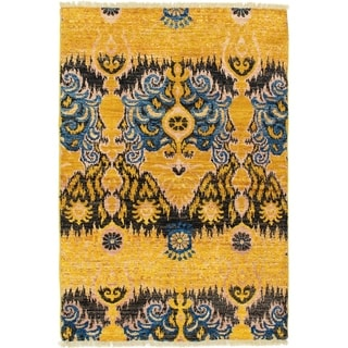 ECARPETGALLERY  Hand-knotted Shalimar Gold Wool Rug - 4'0 x 5'10