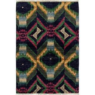 ECARPETGALLERY  Hand-knotted Shalimar Dark Navy Wool Rug - 4'0 x 6'0