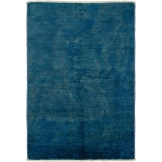 ECARPETGALLERY  Hand-knotted Vibrance Blue Wool Rug - 6'1 x 9'0