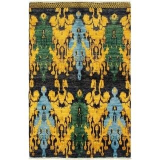 ECARPETGALLERY  Hand-knotted Shalimar Black, Gold Wool Rug - 4'6 x 7'1