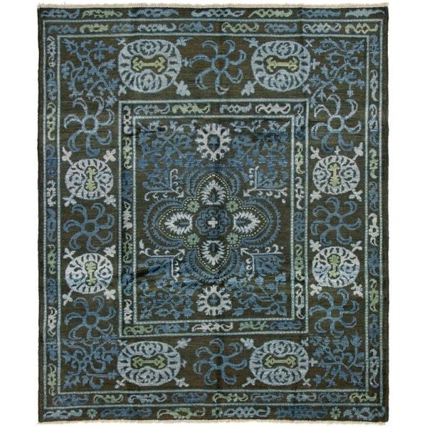 ECARPETGALLERY Hand-knotted Shalimar Black, Blue Wool Rug - 8'2 x 9'6