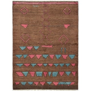 ECARPETGALLERY  Hand-knotted Tangier Brown Wool Rug - 6'5 x 8'9
