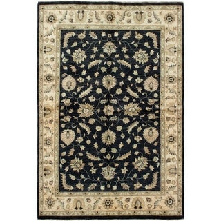 ECARPETGALLERY  Hand-knotted Chobi Finest Black Wool Rug - 5'11 x 8'11