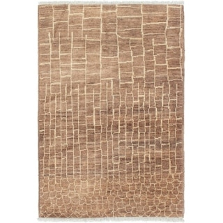 ECARPETGALLERY  Hand-knotted Shalimar Brown Wool Rug - 4'0 x 6'2