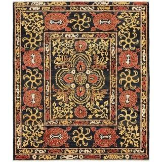 ECARPETGALLERY  Hand-knotted Shalimar Black Wool Rug - 8'6 x 9'9