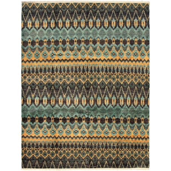ECARPETGALLERY Hand-knotted Shalimar Teal Wool Rug - 8'1 x 9'10