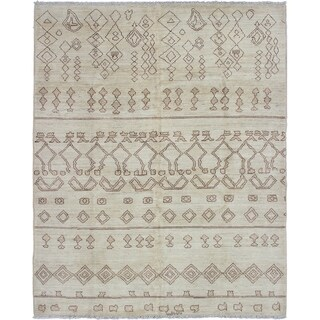 ECARPETGALLERY  Hand-knotted Tangier Cream Wool Rug - 8'1 x 10'0