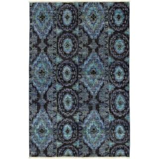 ECARPETGALLERY  Hand-knotted Shalimar Cream, Slate Blue Wool Rug - 6'0 x 9'3