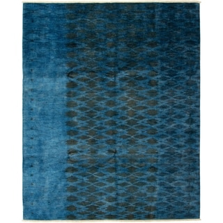 ECARPETGALLERY  Hand-knotted Vibrance Blue Wool Rug - 7'10 x 9'8