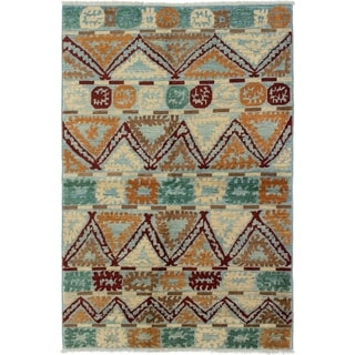 ECARPETGALLERY  Hand-knotted Shalimar Brown, Cream Wool Rug - 5'4 x 8'0