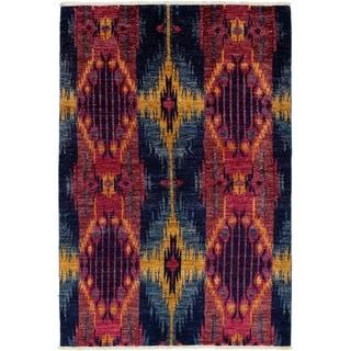 ECARPETGALLERY  Hand-knotted Shalimar Dark Navy, Dark Red Wool Rug - 6'0 x 9'0