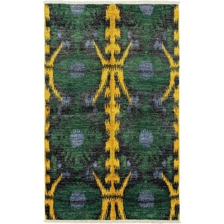ECARPETGALLERY  Hand-knotted Shalimar Green Wool Rug - 5'0 x 8'3