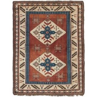ECARPETGALLERY Hand-knotted Ushak Dark Copper Wool Rug - 3'6 x 4'10