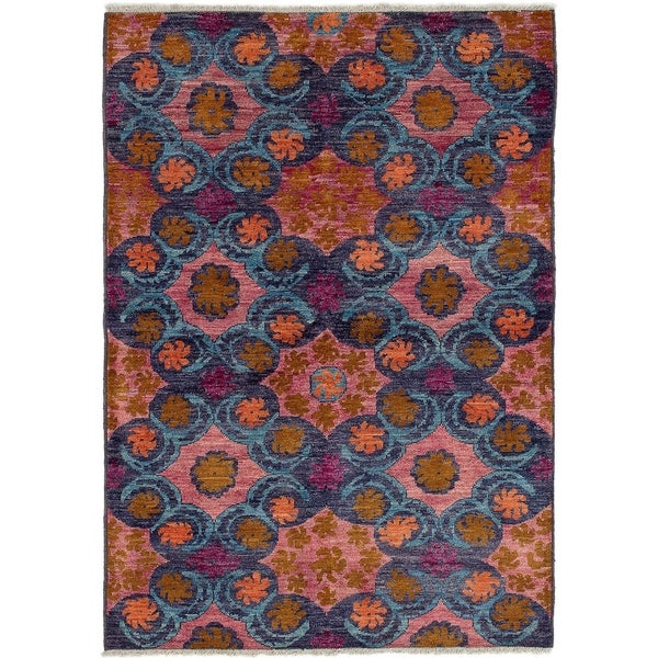 ECARPETGALLERY Hand-knotted Shalimar Salmon, Sky Blue Wool Rug - 6'0 x 8'9