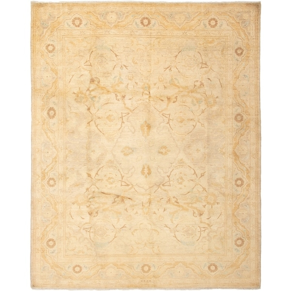 ECARPETGALLERY Hand-knotted Chobi Finest Ivory Wool Rug - 8'2 x 10'3