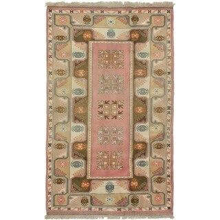 ECARPETGALLERY  Hand-knotted Ushak Cream, Pink Wool Rug - 3'10 x 6'5