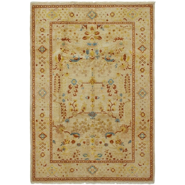 ECARPETGALLERY Hand-knotted Chobi Twisted Cream Wool Rug - 6'2 x 9'1