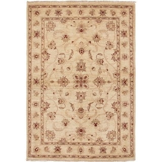 ECARPETGALLERY  Hand-knotted Chobi Finest Cream Wool Rug - 4'1 x 6'0