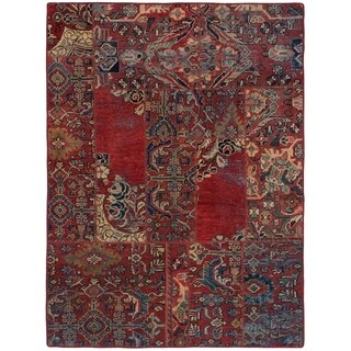 ECARPETGALLERY Hand-knotted Vintage Anatolia Patch Dark Copper Wool Rug - 4'11 x 6'7