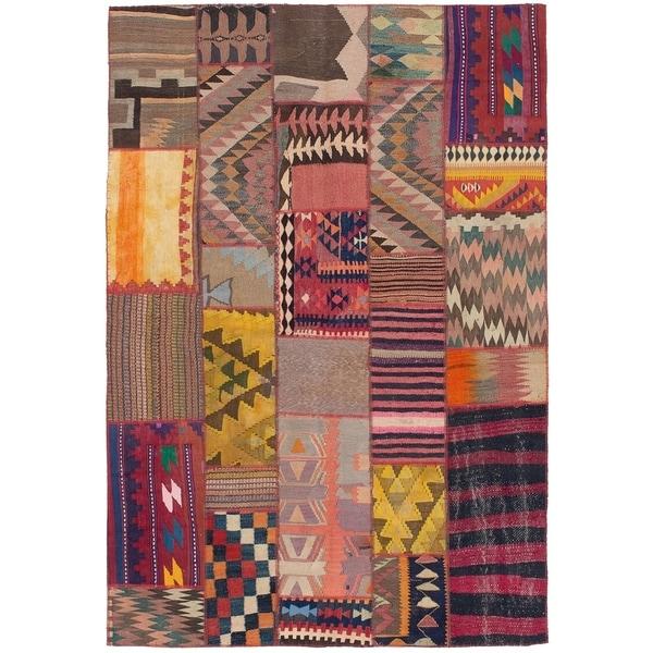 ECARPETGALLERY Flat-weave Anatolia Patch Brown Wool Kilim - 5'5 x 8'0