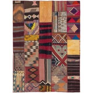 ECARPETGALLERY  Flat-weave Anatolia Patch Copper, Red Wool Kilim - 4'9 x 6'6