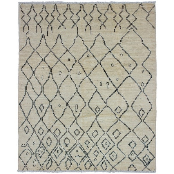 ECARPETGALLERY Hand-knotted Tangier Cream Wool Rug - 8'0 x 9'10