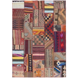 ECARPETGALLERY  Flat-weave Anatolia Patch Dark Copper, Tan Wool Kilim - 5'7 x 7'11