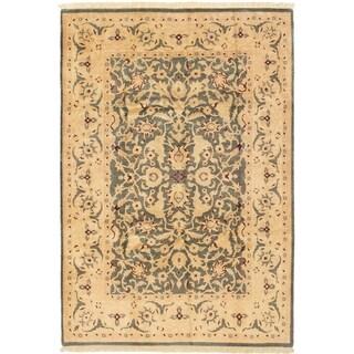 ECARPETGALLERY  Hand-knotted Peshawar Finest Dark Grey Wool Rug - 6'0 x 8'10