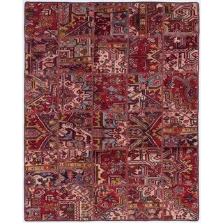 ECARPETGALLERY  Hand-knotted Vintage Anatolia Patch Red Wool Rug - 4'7 x 5'10