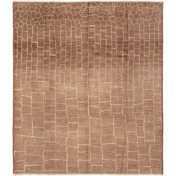 ECARPETGALLERY Hand-knotted Tangier Brown Wool Rug - 8'3 x 9'6