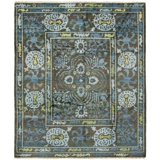 ECARPETGALLERY  Hand-knotted Shalimar Dark Brown Wool Rug - 8'2 x 9'7