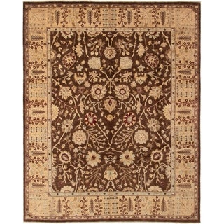 ECARPETGALLERY  Hand-knotted Chobi Finest Dark Brown Wool Rug - 8'1 x 10'2