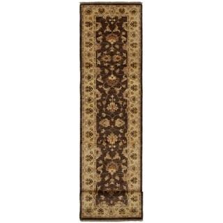 ECARPETGALLERY  Hand-knotted Chobi Finest Dark Brown Wool Rug - 2'7 x 12'3